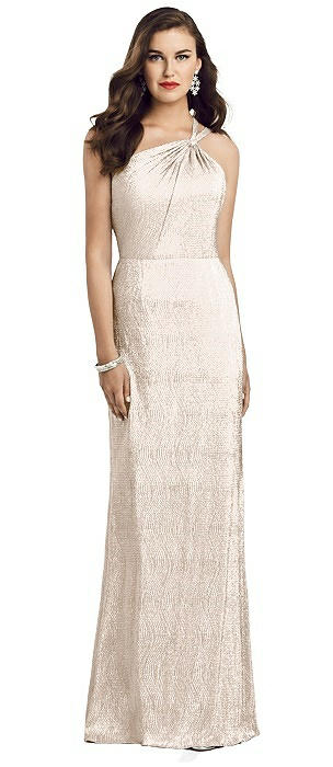 Twist One Shoulder Metallic Trumpet Gown