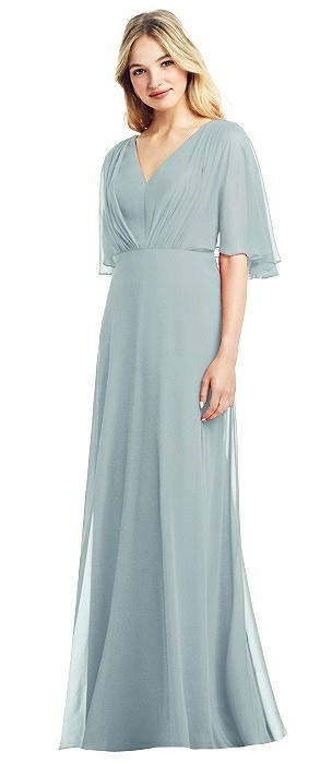 Long Flutter Sleeve Chiffon Gown with Pleat Detail