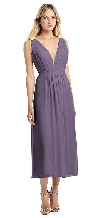 Deep V-Neck Pleated Bodice Chiffon Midi Dress