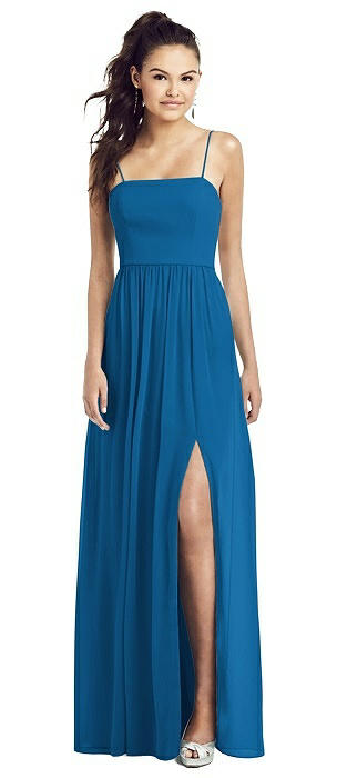 Slim Spaghetti Strap Chiffon Gown with Front Slit and Pockets