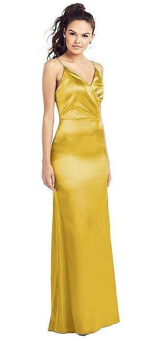 Slim Spaghetti Strap Wrap Bodice Trumpet Gown