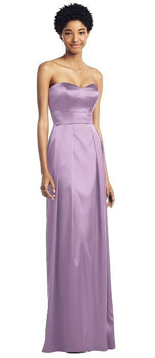 Strapless Sweetheart Gown with Pleated Skirt and Pockets