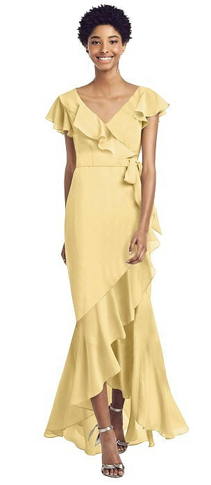 Ruffled Wrap Dress with Flutter Sleeves