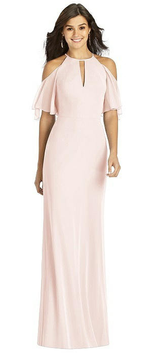 Ruffle Cold Shoulder Mermaid Maxi Dress