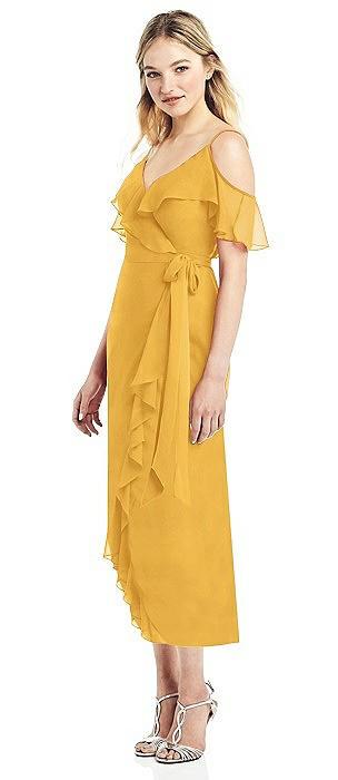 Ruffle-Trimmed Wrap Chiffon Cocktail Dress
