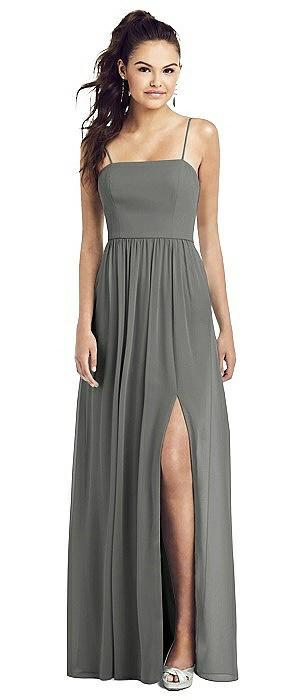 Slim Spaghetti Strap Chiffon Dress with Front Slit and Pockets