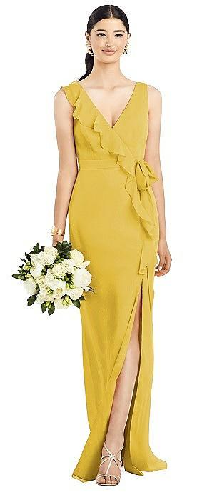 Sleeveless Ruffle Faux Wrap Chiffon Gown