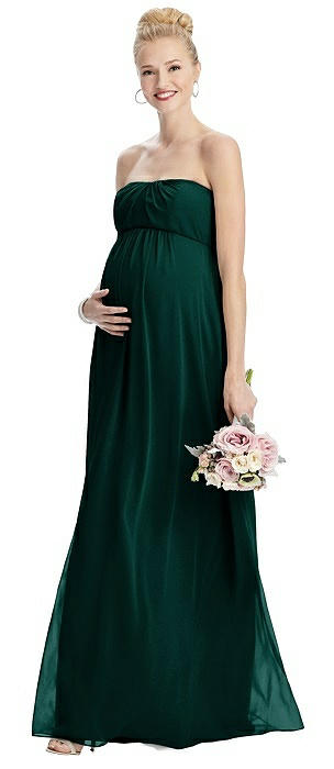 Strapless Chiffon Shirred Skirt Maternity Dress