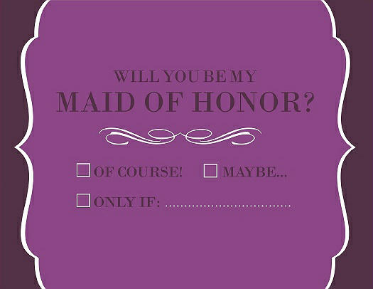 Will You Be My Maid of Honor Card - Checkbox