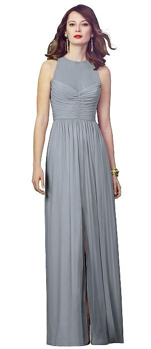 Illusion Bodice Chiffon Maxi Dress