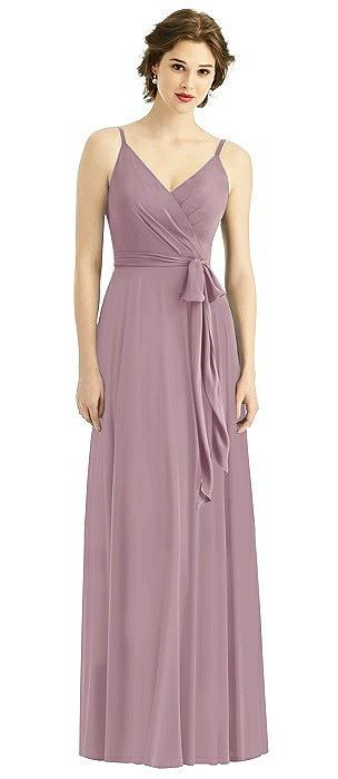 Draped Bodice V-back Dress with Sash
