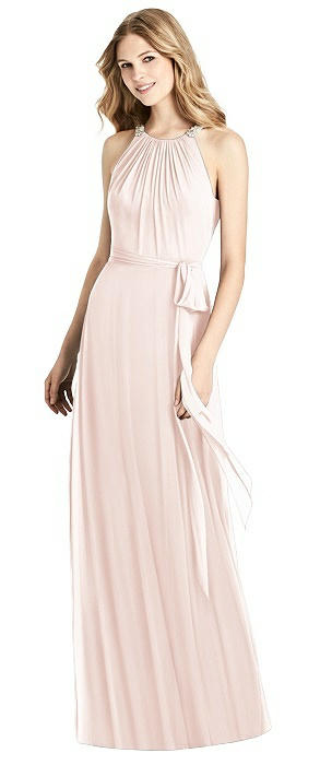 Beaded Shirred Halter Dress with Sash