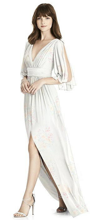 Split Sleeve Backless Chiffon Maxi Dress