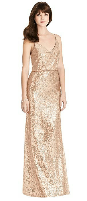 V-Neck Blouson Sequin Trumpet Gown