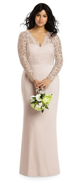 Long Sleeve Illusion-Back Lace Trumpet Gown