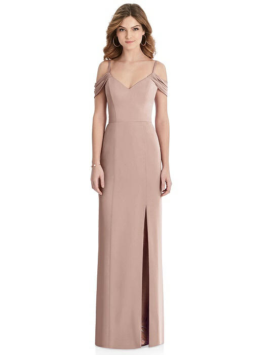 Off-the-Shoulder Trumpet Gown with Front Slit