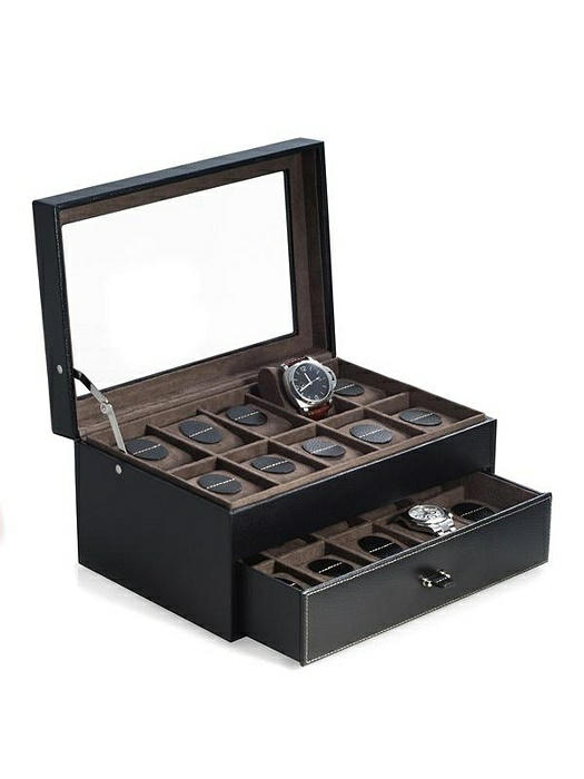 Black Leather 20 Watch Case with Glass See-thru Top and Drawer