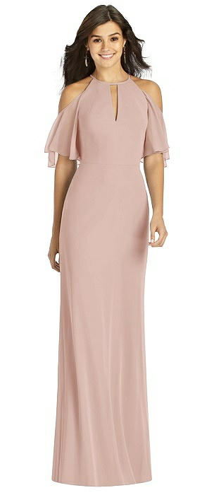 Ruffle Cold-Shoulder Mermaid Maxi Dress
