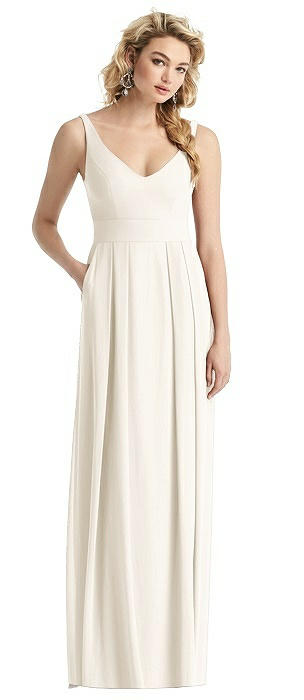 Sleeveless Pleated Skirt Maxi Dress with Pockets