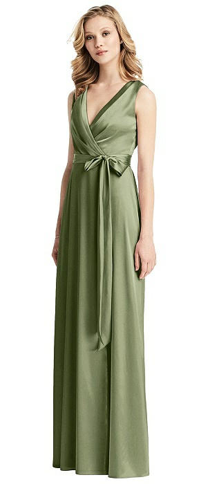 Sleeveless Stretch Wrap Dress with Sash