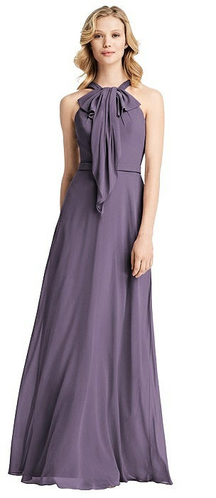 Ruffle Halter Chiffon Maxi Dress