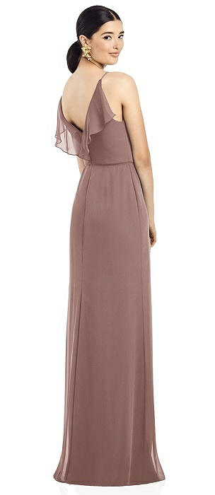 Ruffled Back Chiffon Dress with Jeweled Skinny Sash
