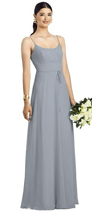 Spaghetti Strap Chiffon Dress with Jeweled Skinny Sash