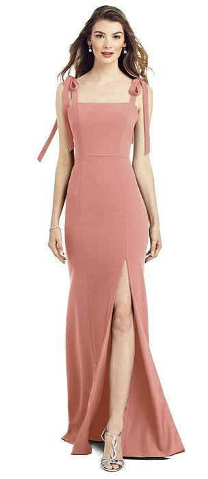 Bowed Flat Strap Trumpet Gown with Front Slit