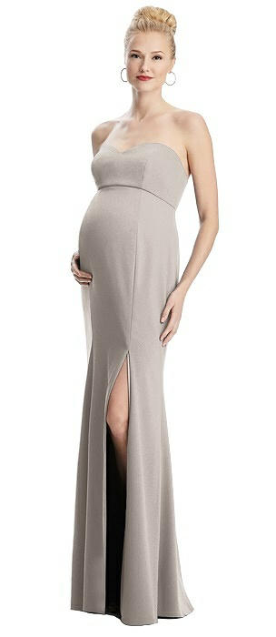 Strapless Crepe Maternity Dress with Trumpet Skirt