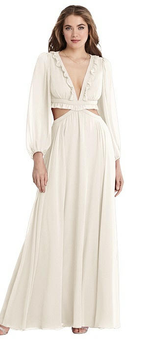 Bishop Sleeve Ruffled Chiffon Cutout Maxi Dress - Harlow