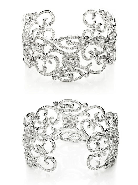 CZ Estate Scroll Cuff Bracelet