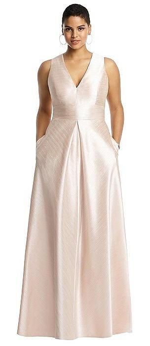 Sleeveless Pleated Skirt Dupioni Dress with Pockets