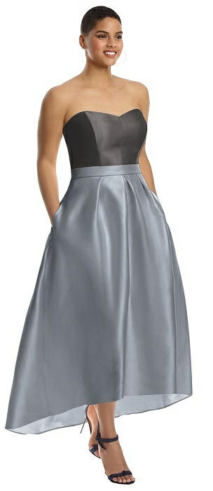Strapless Satin High Low Dress with Pockets