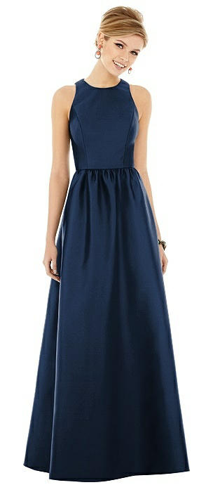 Sleeveless Keyhole Back Satin Maxi Dress