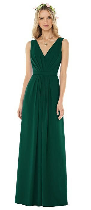 Sleeveless V-Pleat Sheer Crepe Dress