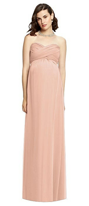Draped Bodice Strapless Maternity Dress