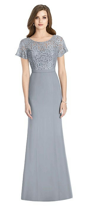 Short Sleeve Lace and Crepe Trumpet Gown