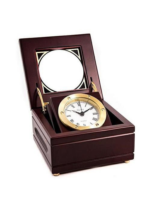 Solid Brass Gimbal Clock in Mahogany Box, T.P.