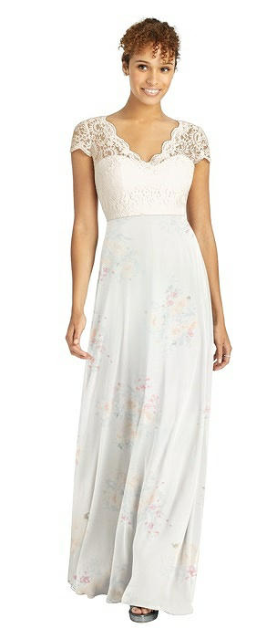 Cap Sleeve Illusion-Back Lace and Chiffon Dress