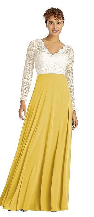 Long Sleeve Illusion-Back Lace and Chiffon Dress