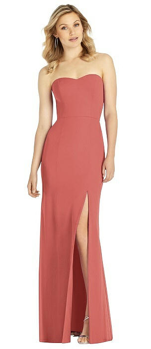 Strapless Chiffon Trumpet Gown with Front Slit