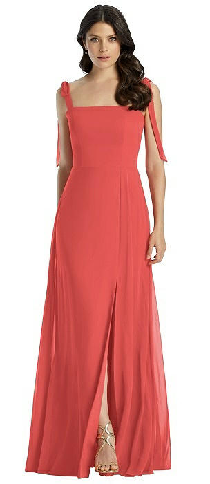 Tie Strap Chiffon Gown with Front Slit