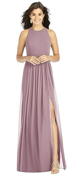 Shirred Skirt Halter Dress with Front Slit