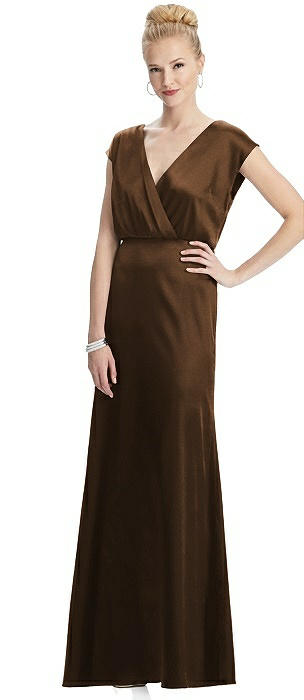 Cap Sleeve Blouson Faux Wrap Dress