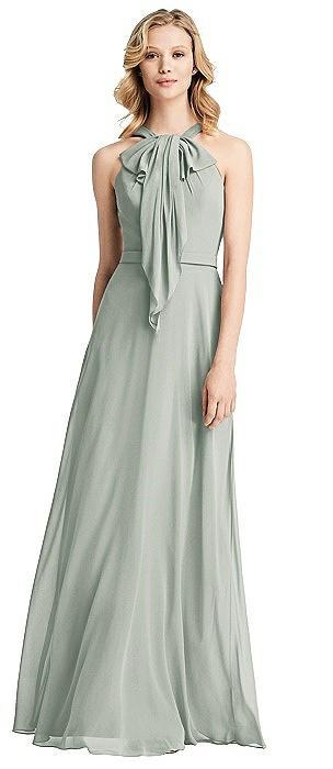 Ruffle Halter Chiffon Maxi Dress