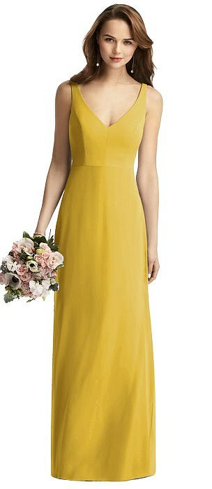Sleeveless V-Back Long Trumpet Gown