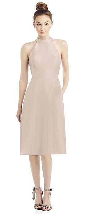 High-Neck Open-Back Satin Cocktail Dress
