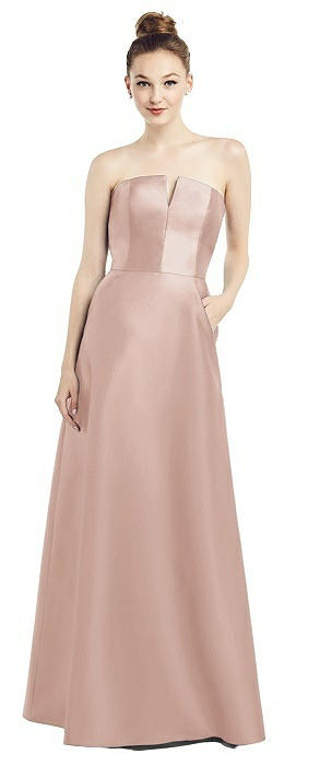Strapless Notch Satin Gown with Pockets