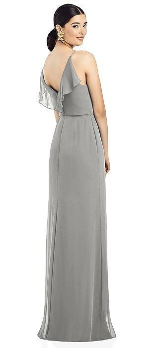 Ruffled Back Chiffon Dress with Jeweled Skinny Sash