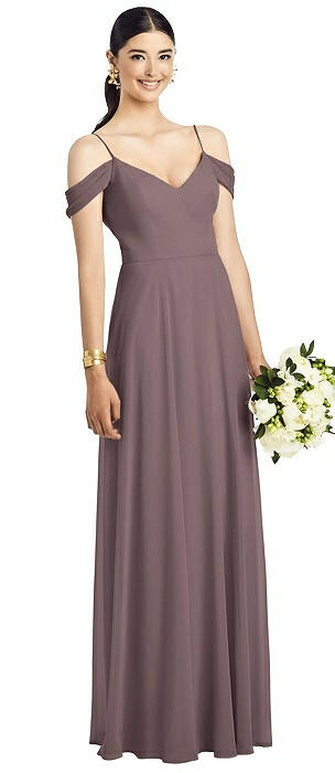 Cold-Shoulder V-Back Chiffon Maxi Dress